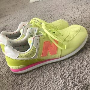 Lime green and peach new balance